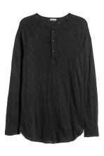 Fine-knit Henley shirt - Black - Men | H&M 2